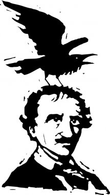 Woodcut Illustration of Edgar Allan Poe with Raven