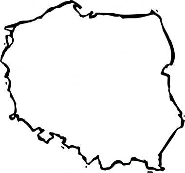 Woodcut Illustration of Map of Poland