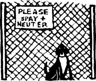 Woodcut Illustration of Dog at Pet Shelter or Pound