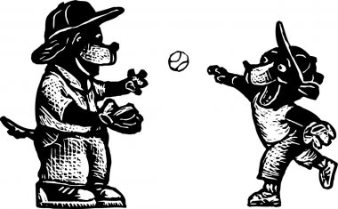 Woodcut Illustration of Father Dog Playing Catch with Son