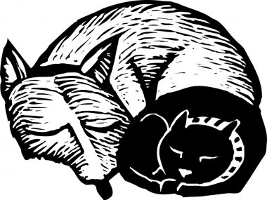 Woodcut illustration of Cat and Dog Taking Nap Together
