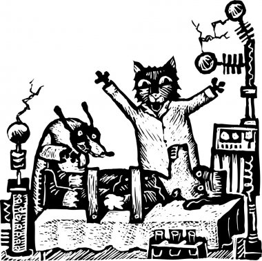 Woodcut Illustration of Cat and Dog Scientists Creating Frankendog