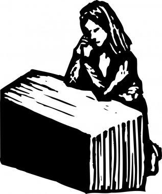 Woodcut Illustration of Woman Praying