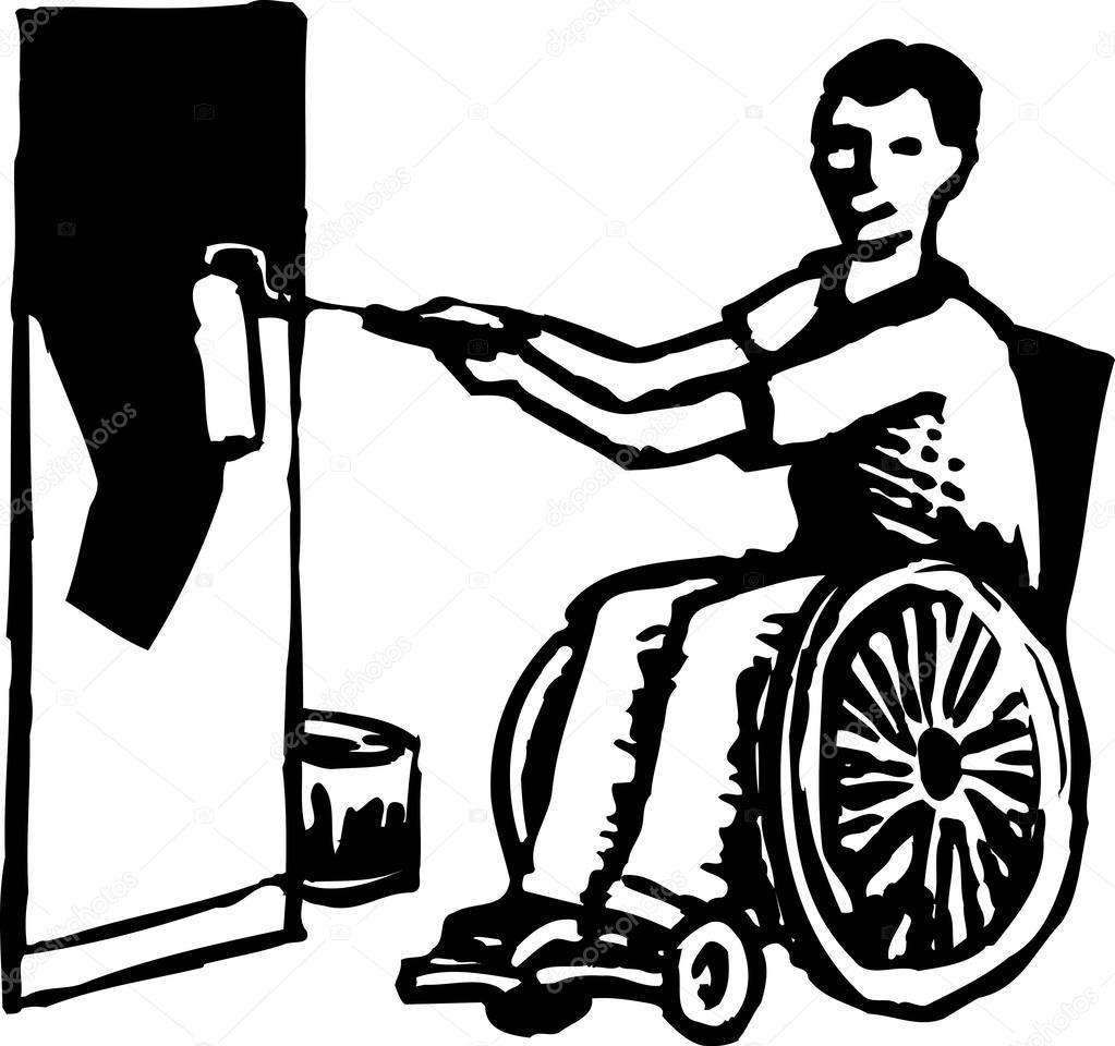 Tekerlekli Sandalye Boyama Duvar Engelli Man Gravür çizimi Stok