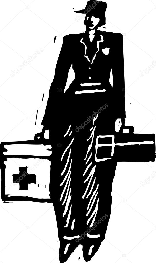 Ilustración de xilografía de paramédico — Vector de stock