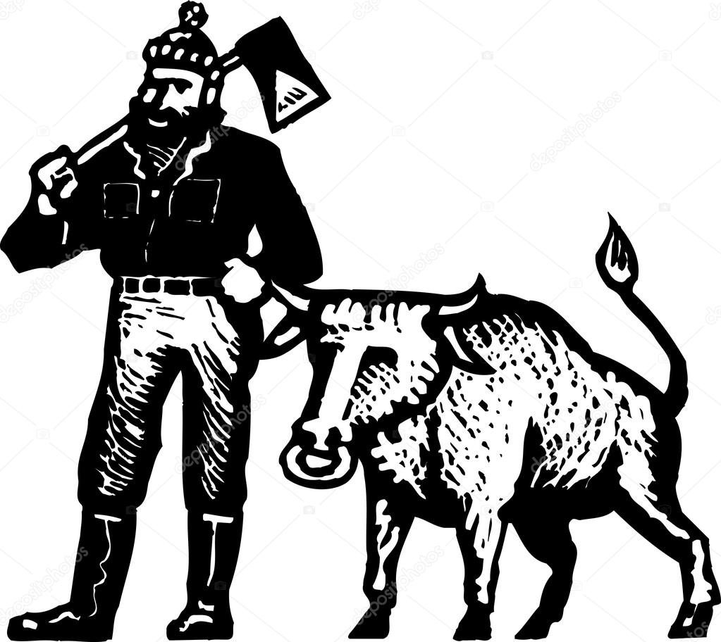 Woodcut Illustration of Paul Bunyan and His Blue Ox — Stock Vector ...