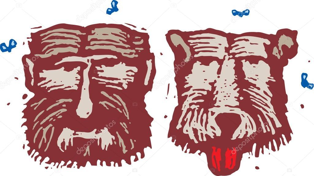Ксилография Иллюстрация вонючий человек и вонючий собака ...