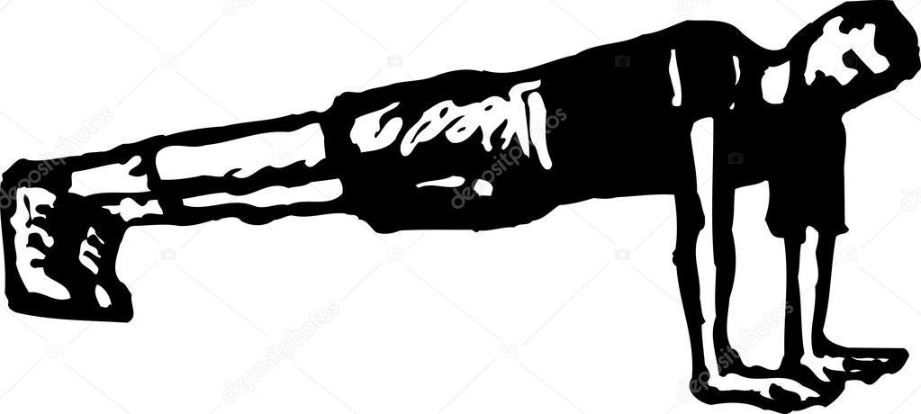 Ilustración de xilografía de empuje hacia arriba — Archivo Imágenes ...