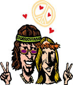 Photo Man and Woman Hippies in Love
