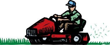 Man Mowing Grass on Ride Mower