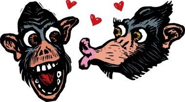 Two Monkeys or Chimps in Love
