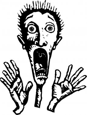 Woodcut Illustration of Man Screaming in Fright