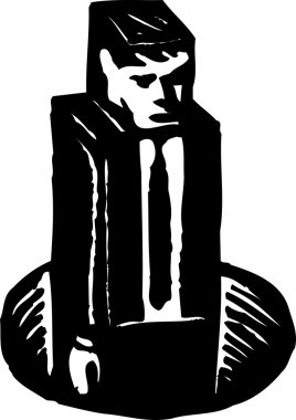 Woodcut Illustration of Square Peg In a Round Hole