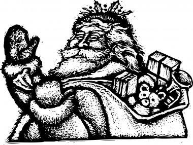 Woodcut Illustration of Santa Claus