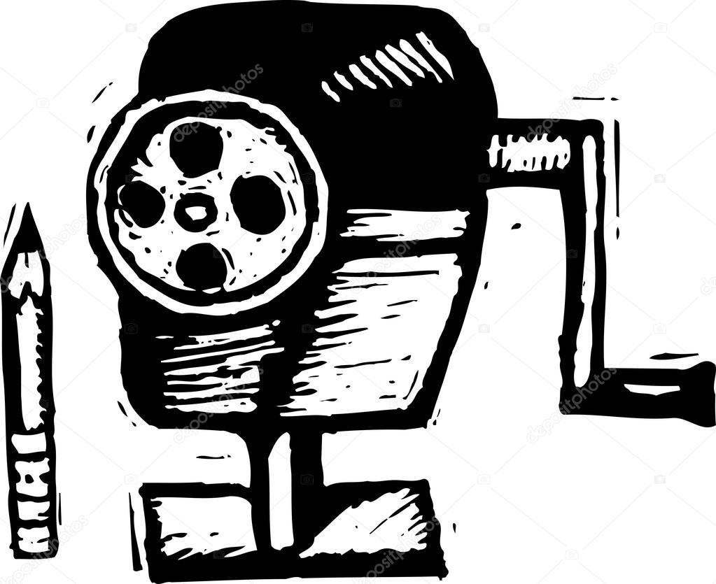 Black And White Vector Illustration Of Pencil Sharpener By Ronjoe