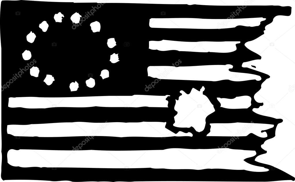 Woodcut illustration of war torn american flag with 13 stars stock woodcut illustration of war torn american flag with 13 stars stock vector publicscrutiny Choice Image