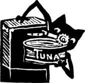Fényképek Macska használ konzervnyitó, hogy megnyitja a doboz tonhal