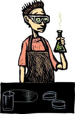 Teen Boy in High School Science Lab
