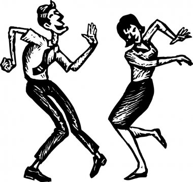 Woodcut Illustration of Man and Woman Dancing