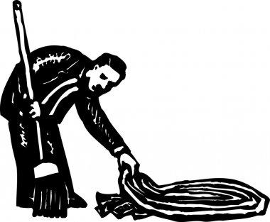 Woodcut Illustration of Sweep Under the Rug