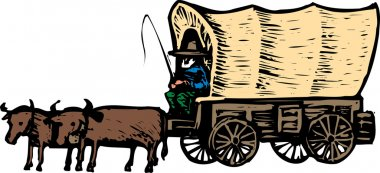 Woodcut Illustration of Conistoga Wagon