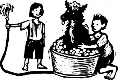 Woodcut Illustration of Boy and Girl Washing the Dog