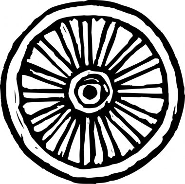 Woodcut Illustration of Wagon Wheel