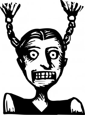 Woodcut Illustration of Scared Girl with Pig Tails Sticking Straight Up