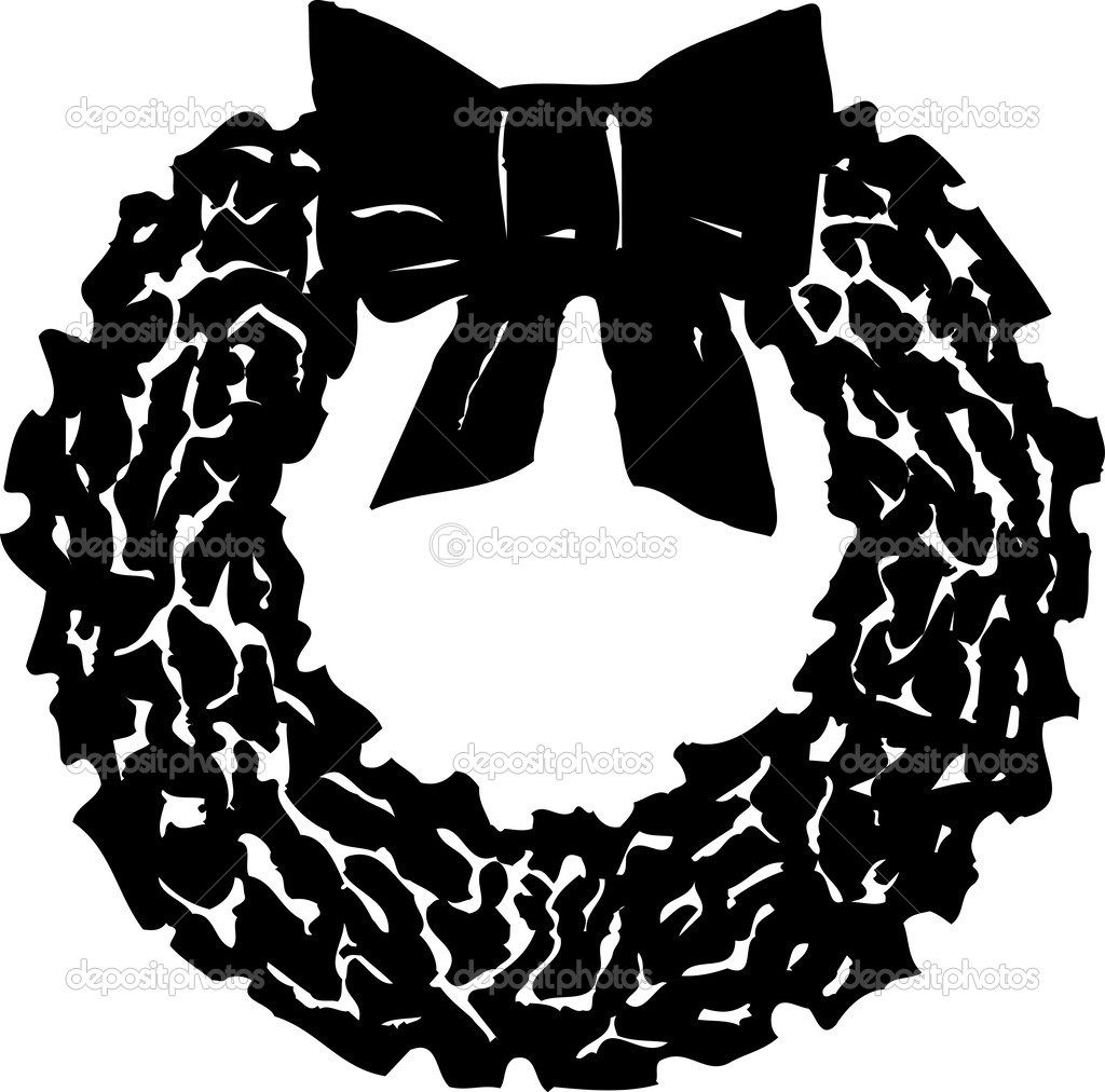 Clipart: christmas wreath black and
