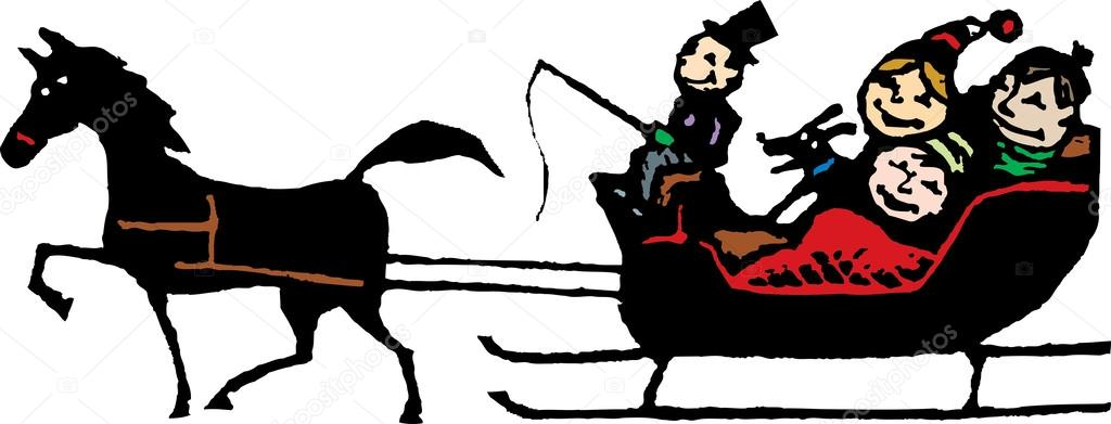 Woodcut Illustration Of Family Riding In A One Horse Open Sleigh