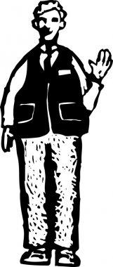 Woodcut Illustration of Senior Man Bigbox Retail Greeter