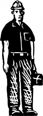 Woodcut Illustration of Construction Worker