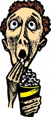 Woodcut Illustration of Man at Movies Eating Popcorn
