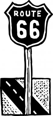 Woodcut Illustration of Route 66 Road Sign