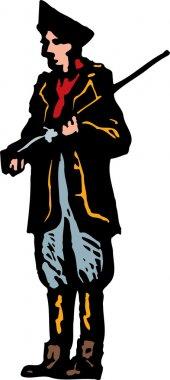 Woodcut Illustration of Minuteman