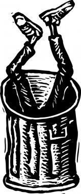 Woodcut Illustration of Teen Boy Dumped in Trash Can