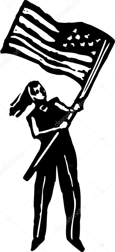 Woodcut Illustration Of Woman Waving American Flag Stock Vector
