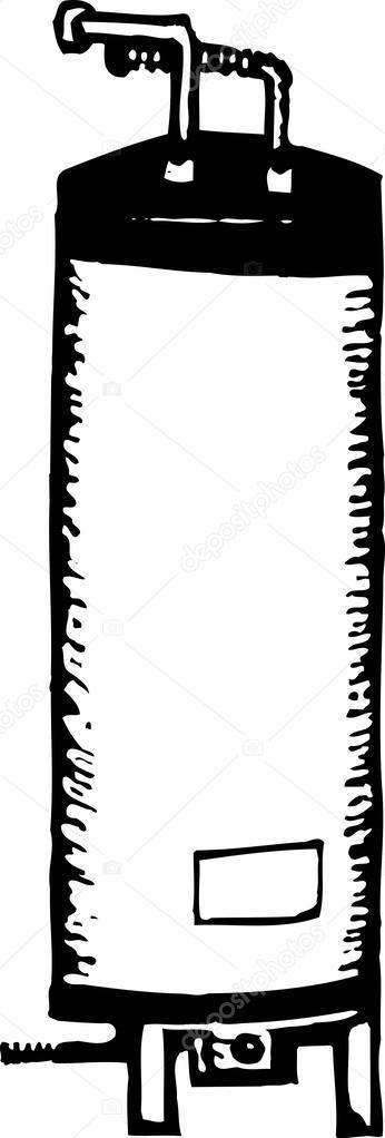 Ilustración de xilografía del calentador de agua — Vector de stock ...