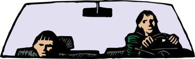 Vector Illustration of Upset Boy Riding in Car