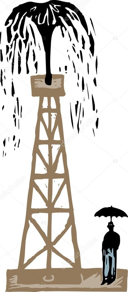 Vector Illustration of Oil Well Gushing — Stock Vector © ronjoe ...