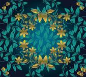Fotografie Blumenmuster nahtlos auf grünem Hintergrund mit goldener Blume