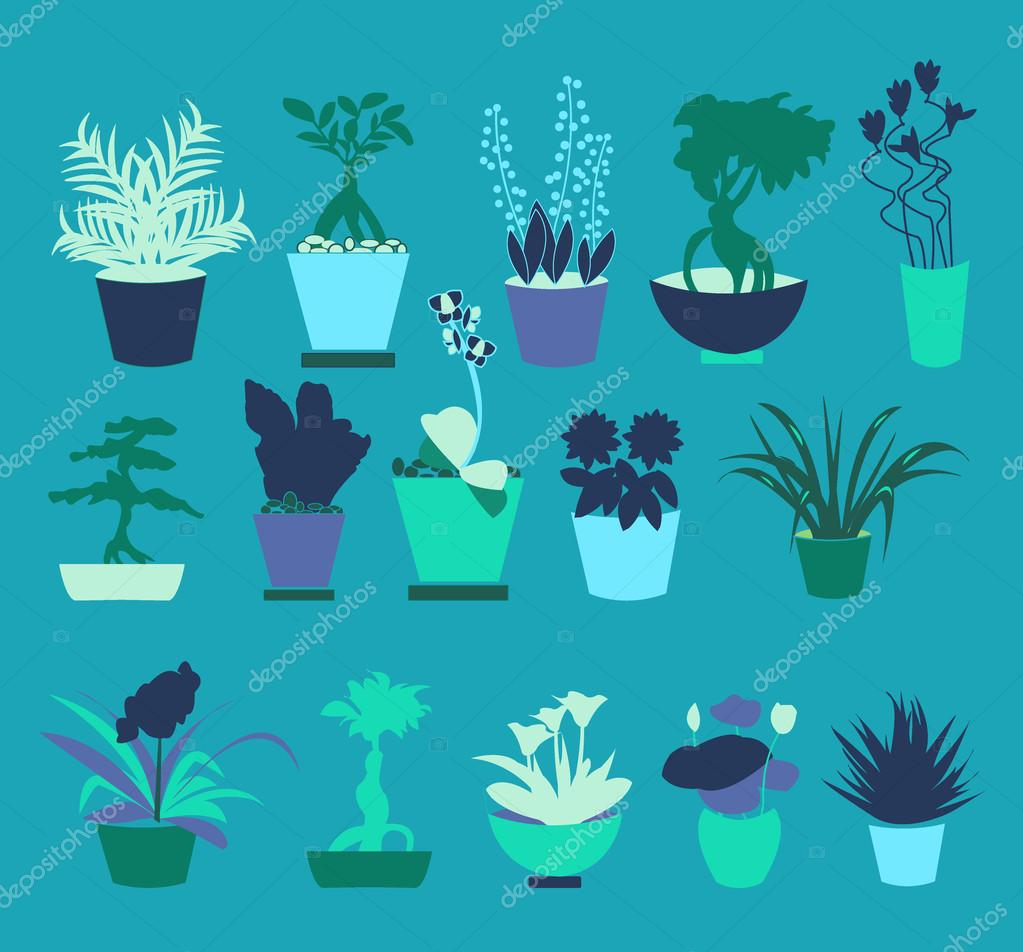 Flat icons set of Plant silhouette collection - Illustration