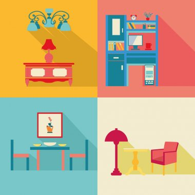 colorful Interior Icons Set in flat style with long shadow