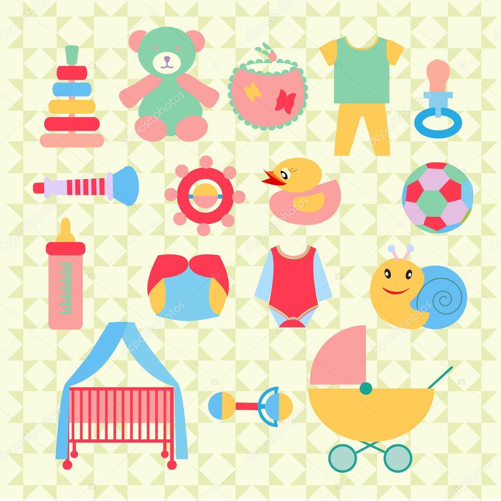 Spullen Voor Baby.Pasgeboren Baby Spullen Iconen Set Illustratie Stockvector