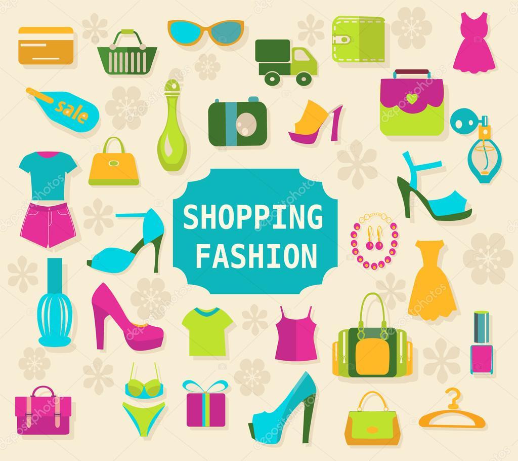 4ba6fb89f43ac1 Покупки і моди елементи тло вектор одяг і взуття іконки — Вектор від ...