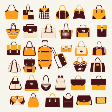 Set icons of  bags  and  handbags - Illustration