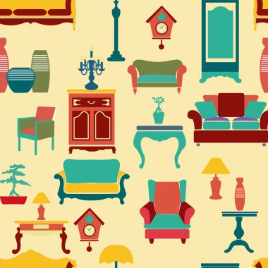 living furniture seamless pattern background - Illustration