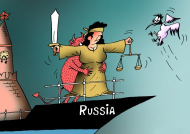 Caricature. The end of justice