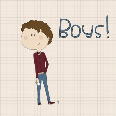 Illustration of hipster boy