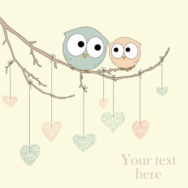 Greeting card with cute owls in love